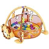 Baby Game Aktivität Gym Mat Krabbeldecke Teppich mit Schutzgitter Mesh Bunte Bälle mit Spielbogen und Bällen(Lion)