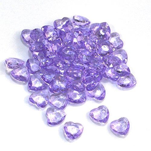 SiDeSo® Dekosteine Herzdiamanten Herzen 100 Stück viele Farben Acryl Tischdeko Streudeko Hochzeit (lila)