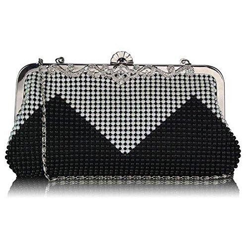 TrendStar Damen Stilvolle Berühmtheit Stil Perlen Kristall Gegensatz Partei Clutch Abendtaschen (Schwarz/Weiß) (Box-clutch-schwarz-abend-taschen)