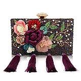 LLUFFY-Clutch Handbanketttasche, Schulterdiagonale Tasche, handperlenbesetzte Blumentasche, geeignet für Party, Tanz, Braut, Hochzeit, Party, 16 * 12 * 5cm, lila