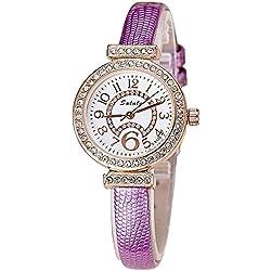 Fashion Rhinestones PU Strap Quartz Women Wrist Watch,Purple