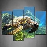 Schildkröte Schwimmen Im Boden Von Meer Wandkunst Malerei Das Bild Druck Auf Leinwand Tier Kunstwerk Bilder Für Zuhause Büro Moderne Dekoration