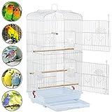 Yaheetech Gabbia Voliera per Uccelli Pappagalli in Metallo e Legno con Molte Porte e Posatoi 46 x 36 x 92 cm Bianca