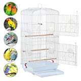 Yaheetech 92H CM Large Bird Cage for Budgies Lovebirds Finches Cockatiels Conures Canary Tall Metal Small Parrots Cage Sun Quaker Parakeets Green Cheek Travel Bird Cage (White)