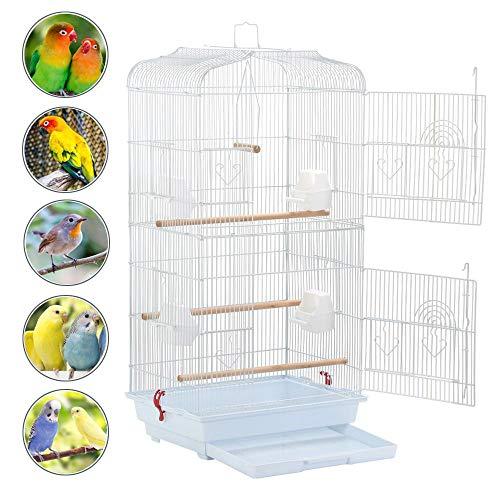 Yaheetech Vogelkäfig Vogelvoliere Tierkäfig Vogelhaus für Papagei Wellensittich 46 x 36 x 92cm Weiß