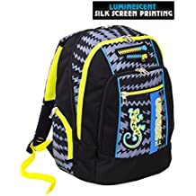 5bacf0c819 Zaino scuola advanced SEVEN - GECKO BOY Nero - Patch FOSFORESCENTI - 30 LT  - inserti