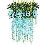 TIREOW Unechte Blumen, 12PCS künstliche gefälschte Wisteria Rebe Partei Hochzeits Dekorationen Deko Blumen Gefälschte Blumen Plastik Braut Hochzeitsblumenstrauß für Party (Blau)