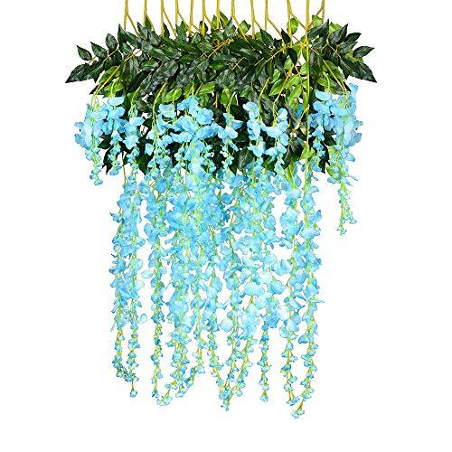 n, 12PCS künstliche gefälschte Wisteria Rebe Partei Hochzeits Dekorationen Deko Blumen Gefälschte Blumen Plastik Braut Hochzeitsblumenstrauß für Party (Blau) ()