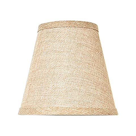 Eastlion 2 Simple Modern Manual Fabric Lamp Shade for Crystal Candle Chandelier,Wall Lamp,Mini Table Lamp with Wave Brim E14 Lamp holder Lamp Shade 9x15.5x14cm Brown
