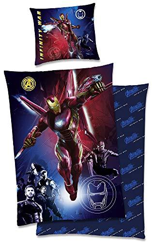 Marvel Kinder-Bettwäsche Avengers Iron Man Glow in the Dark - leuchtet im Dunkeln 135x200 + 80x80 cm Captain America Thor Ironman Hulk 2 Motive deutsche Größe 100% Baumwolle Linon Reißverschluss
