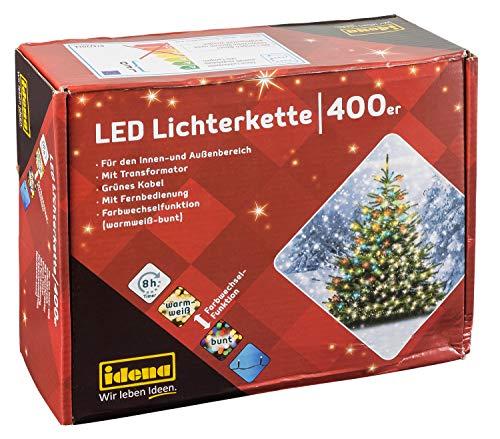 Idena 31097 - LED Lichterkette mit 400 LED, Farbwechselfunktion in warm weiß und bunt, mit 8 Stunden Timer Funktion, Innen und Außenbereich, für Partys, Weihnachten, Deko, Hochzeit, ca. 44,9 m
