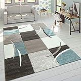 Paco Home Designer Teppich Modern Konturenschnitt Pastellfarben Karo Muster Beige Türkis, Grösse:160x230 cm