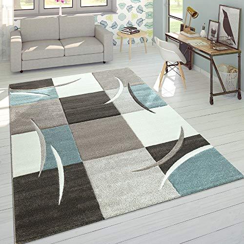 Alfombra De Diseño Moderna Contorneada En Colores Pastel con Estampado Cuadriculado En Beige Y Turquesa, tamaño:120x170 cm