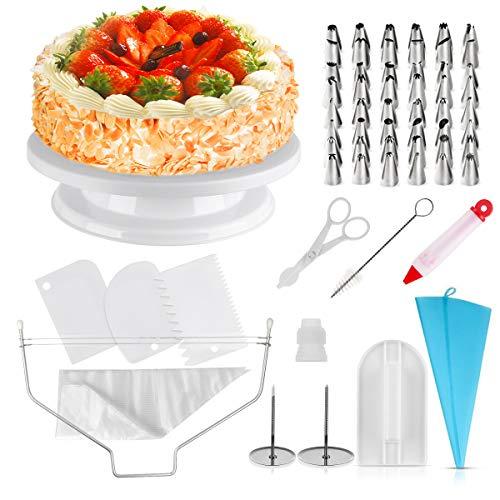 homeasy Kuchen Drehteller Tortenplatte drehbar Tortenständer 71-Set mit Edelstahl Spritztüllen, Silikonbeutel und Einweg Spritzbeutel