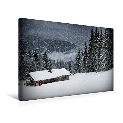 Calvendo Premium Textil-Leinwand 45 cm x 30 cm quer, Wintermärchen HEMMERSUPPENALM II (schwarz) | Wandbild, Bild auf Keilrahmen, Fertigbild auf echter Almhütte im Schneegestöber Natur Natur