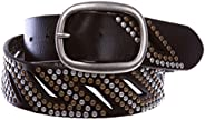 """1 1/2"""" Oval Snap on Perforated Nailhead Studded Cowhide Solid Leather Belt, Black"""
