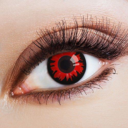 aricona Farblinsen – deckend schwarz - farbige Kontaktlinsen ohne Stärke für Halloween – rote Jahreslinsen für dein Vampir & Dämon Kostüm