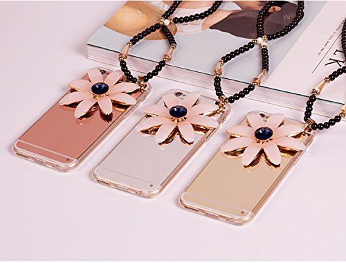Cover iPhone 8,Cover iPhone 7,Custodia iPhone 8 / iPhone 7 Cover,ikasus® Diamanti di cristallo lucidi Glitter Specchio di placcatura con Cordicella a catena perline custodia iPhone 8 / iPhone 7 Custod Oro