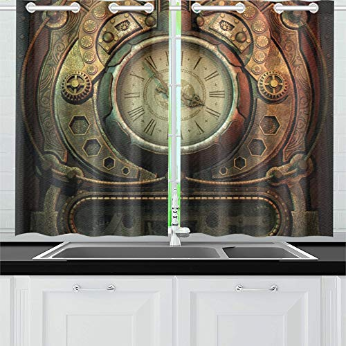 Jochuan 3 d computer graphics clock steampunk style kitchen curtains window curtain tiers for café, bath, laundry, living room bedroom 26 x 39 inch 2 pieces