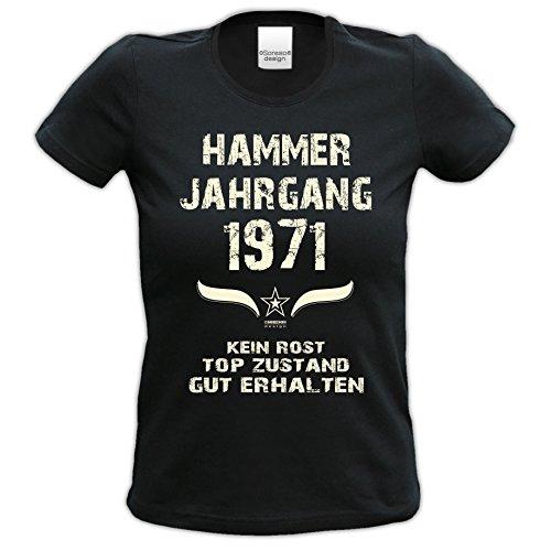 45.Geburtstag-Damen-Mädchen-Happy-Birthday Fun-Girlie-T-Shirt Geschenk mit Sprüche-Motiv: Hammer Jahrgang 1971 Farbe: schwarz Schwarz