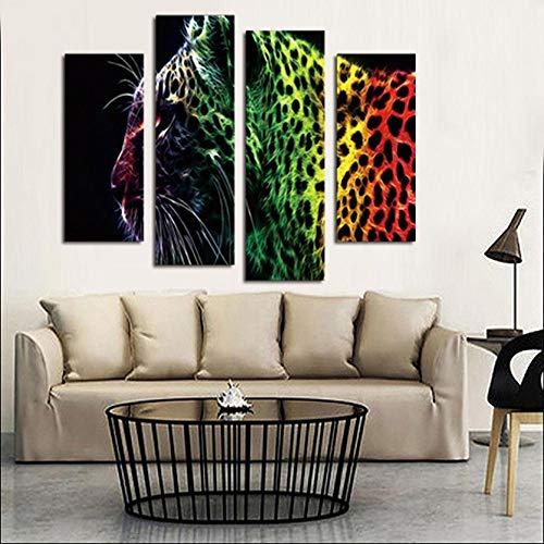 CWLLWC Lienzo, Pintura Mural Arte para Vivir Cuatro Piezas con Pintura de Cuadro de Pintura al óleo Leopardo casa decoración Arte Colorido de la Pared en Lona