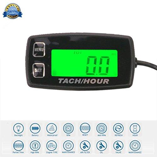 Runleader RL-HM035R induktive tachometer mit stunde zähler hintergrundbeleuchtete display für benzin - motor atv utv dirtbike motobike motocycle outboards schneemobil pitbike pwc marine - schiff wasserfest.
