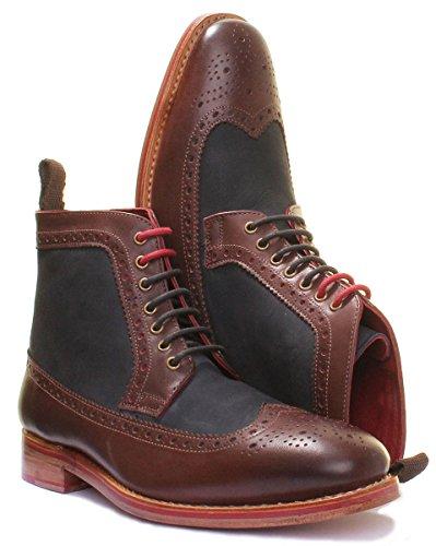 Justin Reece Connor, Chaussures de ville à lacets pour homme Brown Blue