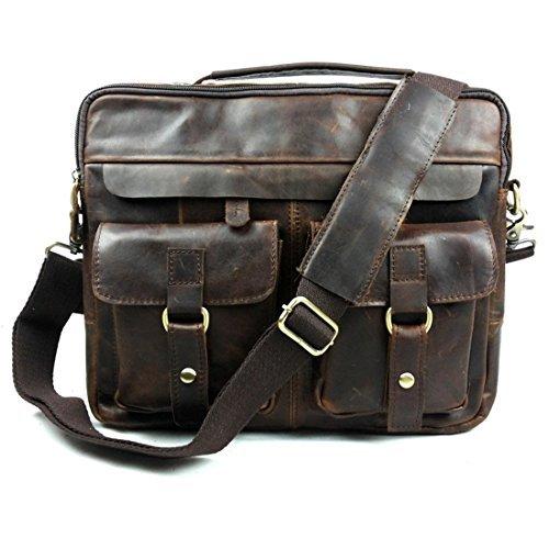 Baigio borsa messenger uomo pelle vintage, borsa a tracolla borsa lavoro porta pc 13 pollici ventiquattrore valigetta cartella per business ufficio, marrone scuro