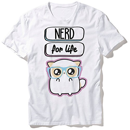 T-Shirt Mixte Pouny Pouny [ Nerd for life ] lunette de geek chibi et kawaii Fabriqué en France - Licence officielle Pouny Pouny - Chamalow shop