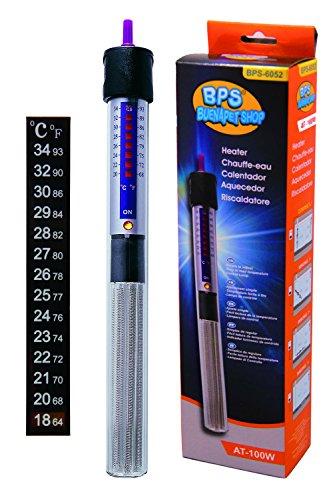 BPS (R) Calentador Sumergible para Pecera 100W - 26.5cm con Un Termómetro Digital Adhesivo BPS-6052