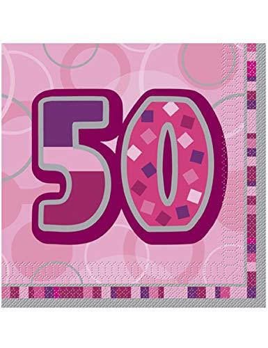 Unique Party Supplies 16 rosafarbene Papierservietten 50. Geburtstag 33 x 33 cm