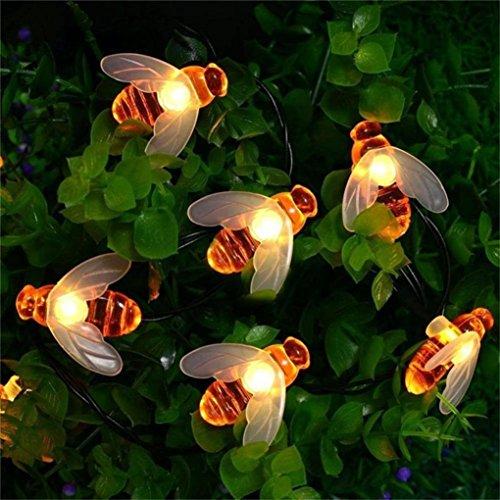 (Wokee Solar Lichterkette,30 LED Solar String Honig Biene Form Warm Licht Garten Dekoration Wasserdicht Dekoration Beleuchtung Kugel für Außen, Indoor Gärten, Rasen, Weihnachten Party - 15ft, Warmweiß)