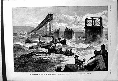 Antiker Druck des Tay-Brücken-Unfalles Schottland, das Zug-Wrack Unter Wasser 1880 Sucht
