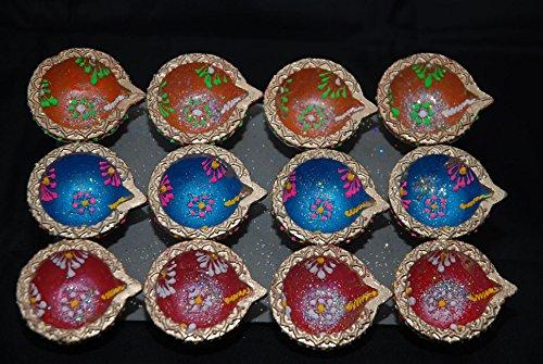 Pack mit 12handbemalten Diya-Lampen für das Diwali-Lichterfest, Gold, Rosa, Blau & Orange (5cm)