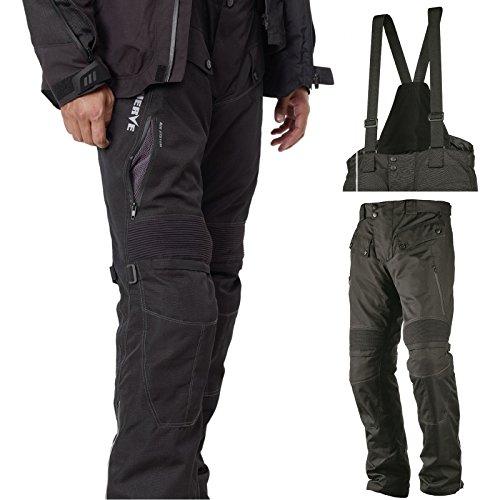 Motorradhose Standard und Kurzgrößen -Spider- Herren Sommer Winter Motorrad Textilhose mit Protektoren und Hosenträger - schwarz - Kurzgröße - 2XL / XXL - Stretch-spider