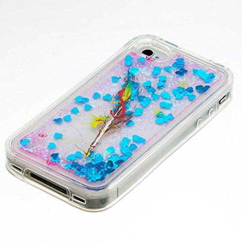 Für iPhone 4/4S Durchsichtige Hülle,Für iPhone 4/4S Crystal Clear Flüssig Hülle Schutz Handy Case Hülle,Funyye Nette Kreative Komisch 3D Flüssigkeit Schutzhülle Bunten Muster Transparent Handytasche G Ölgemälde Feder