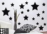 kleb-drauf® - 19 Sterne / Blau - matt - Aufkleber zur Dekoration von Wänden, Glas, Fliesen und allen anderen glatten Oberflächen im Innenbereich; aus 19 Farben wählbar; in matt oder glänzend