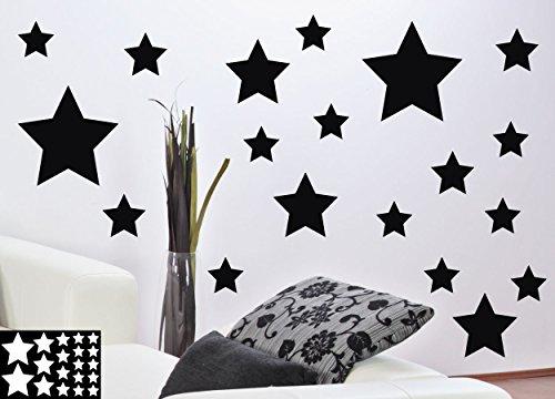 kleb-drauf® - 19 Sterne / Weiß - matt - Aufkleber zur Dekoration von Wänden, Glas, Fliesen und allen anderen glatten Oberflächen im Innenbereich; aus 19 Farben wählbar; in matt oder glänzend (Glas-wand-dekorationen)