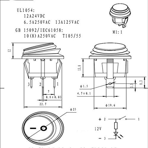 audew 6 x 12vdc 3 pin led lumineux on off spst interrupteur bascule tanche pour voiture van. Black Bedroom Furniture Sets. Home Design Ideas