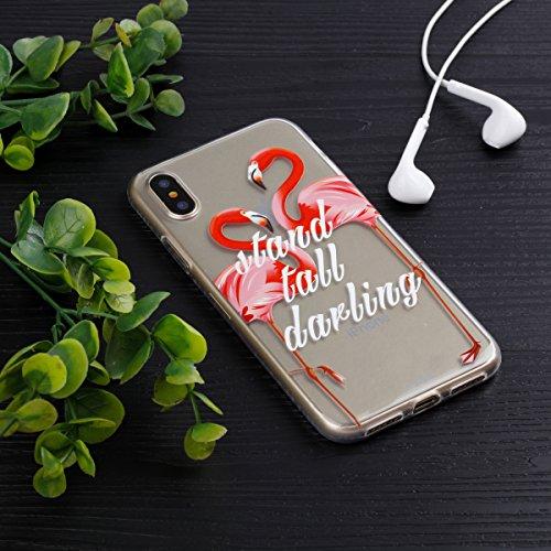 Ecoway Apple iphone X Case Cover, TPU Clear Soft Silicone Impression de la cire d'huile Housse en silicone Housse de protection Housse pour téléphone portable pour Apple iphone X - Motif 1 Motif 16