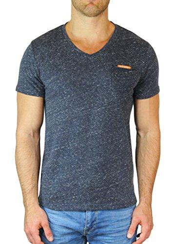 M.Conte Fitness T-Shirt Herren v Neck Kragen Sportstyle Kurzarm Tee Stickerei Logo Schwarz Blau Grau Silber Marine M L XL XXL Carl (XL, Schwarz Black)