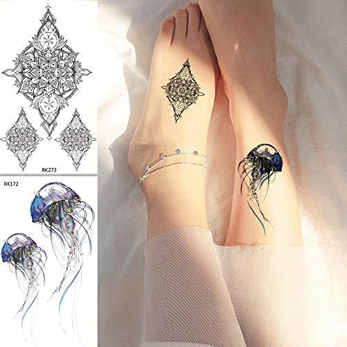 Gewohnheit Kostüm - Temporäre Tattoo-Aufkleber Aquarell-Quallen-Tätowierungs-Aufkleber-Blumen-Fälschungs-Tätowierungs-Schwarz-Tätowierungs-Körper-Kunst-Arm-Wasserdichte Gewohnheit