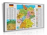 Pinnwand im Alurahmen: Deutschland pol. gerahmt im silbernen Alurahmen