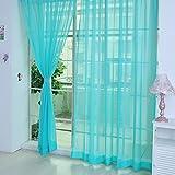 #4: Rrimin Window Curtain Drape Scarfs Valances for Living Room Bedroom Balcony Blue