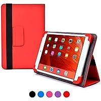 Funda tipo folio Infinite Elite de Cooper Cases(TM) para tablets de Samsung Galaxy Tab 3 Lite 7.0 VE (Wi-Fi SM-T113) en Rojo (Compatibilidad universal, soporte integrado para visionado, cierre con elástico)