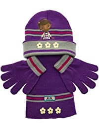 Various Girls Character Hat Scarf and Gloves 3 Piece Set Kids Warm Winter accessories Size 3-8 Years