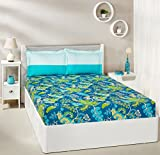 #10: Amazon Brand - Solimo Floral Foliage 144 TC 100% Cotton Double Bedsheet with 2 Pillow Covers, Teal