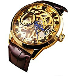 Ukamshop(TM)Men Mechanical Skeleton Watch Hand Wind Up Gold Dial Black Leather Strap
