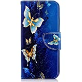 Samsung Galaxy J6 Case, [Wallet Case] Premium Soft PU Leather Notebook Wallet Case with Kickstand Function Card Holder and ID Slot Slim Flip Protective Skin Cover for Samsung Galaxy J6 Blue Butterfly