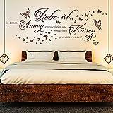 Wandtattoo Liebe ist in deinen Armen einzuschlafen... | Spruch Paare Schlafzimmer Deko Grün 061 127 x 48 cm